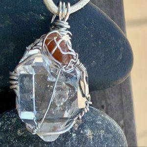 Herkimer Diamond Quartz & Red Kyanite Necklace